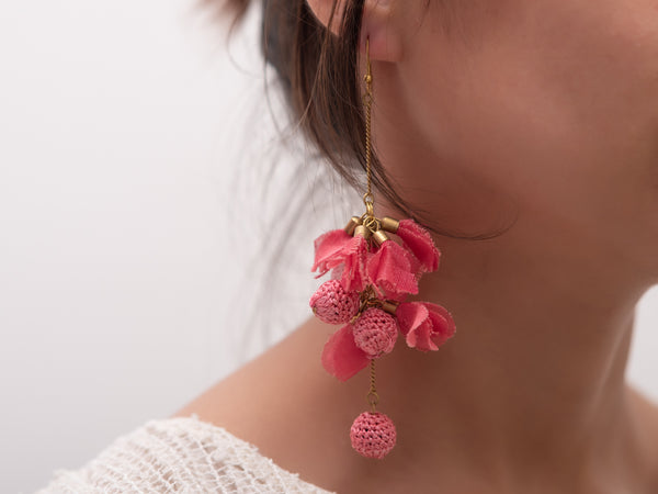 Pink Crochet Earrings with Feather detail