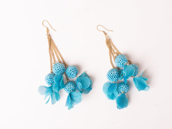 Blue Crochet Earrings with Feather Details