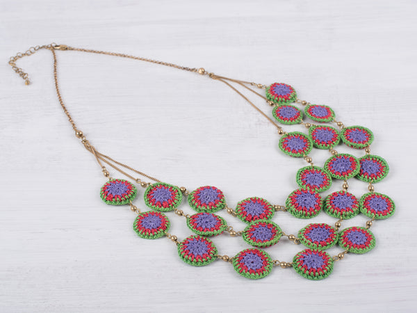 Green and Purple Crochet Layered Necklace