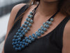 Blue Crochet Balls Layered Necklace