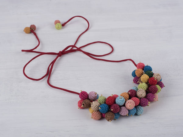Multicoloured Crochet Balls Necklace