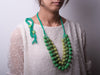 Green Crochet Balls Layered Necklace