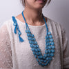 Blue Crochet Multilayered Necklace