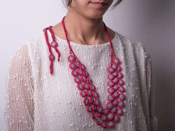 Pink Crochet Layered Necklace