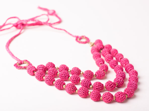 Pink Crochet Multilayered Necklace