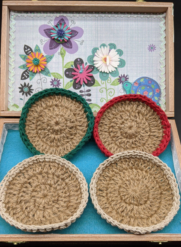Natural Jute Coasters with Colorful Rim