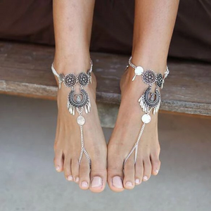 Bohemian Jewelry Antique Silver Color Hollow Flower Chain Anklets Beach Barefoot Sandals Foot Jewelry