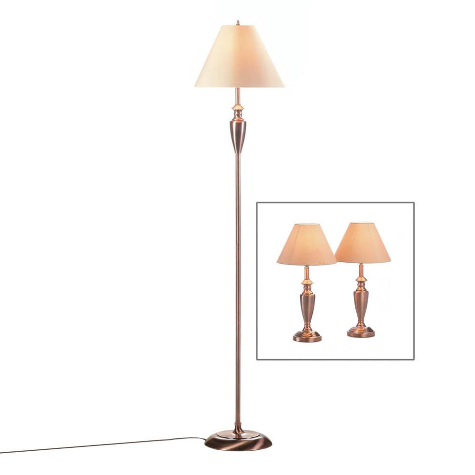 the-stock-mall - Beautiful Copper Lamps Trio Set Floor Lamp And 2 Table lamps - Home Decor