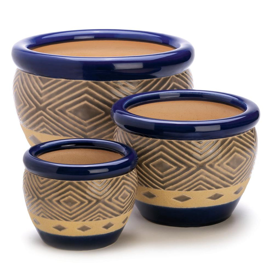 the-stock-mall - Beautiful Set Of Blue Flower Pots, Show Off Your Greenery With A Delicious Dose Of Color - Best Sellers