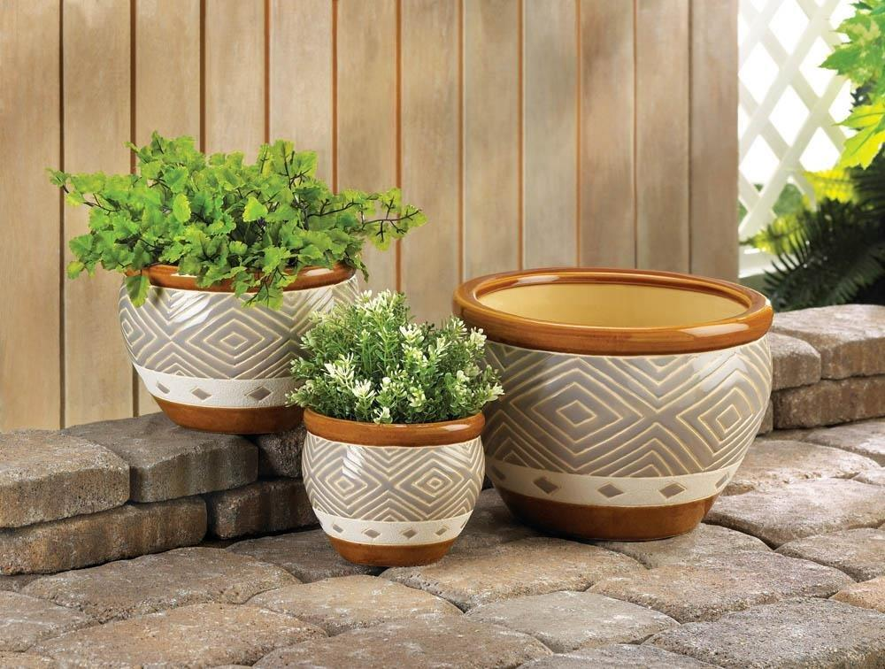 the-stock-mall - Brown Decorative Planters Set Of 3 Flower Pots - Home Decor