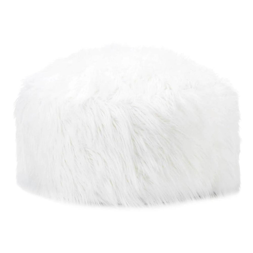 the-stock-mall - Decorative Fuzzy White Ottoman - Home Decor