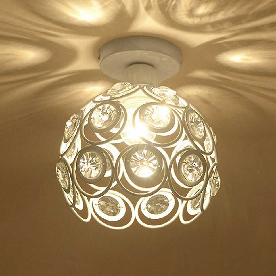 the-stock-mall - White Iron Lamp Crystal Ceiling Lamp -