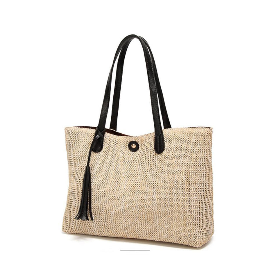 Vegan Leather Trimmed Tote with Tassel
