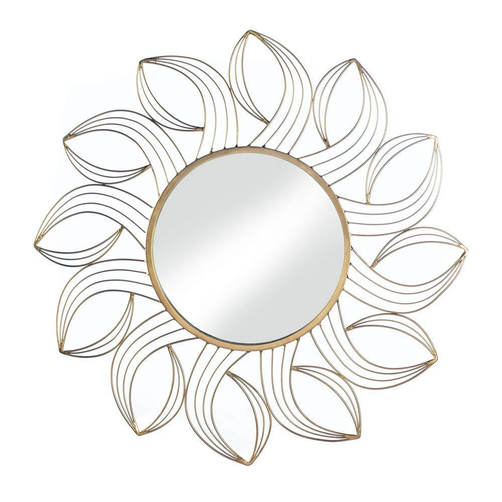 the-stock-mall - Golden Petals Wall Mirror - Home Decor