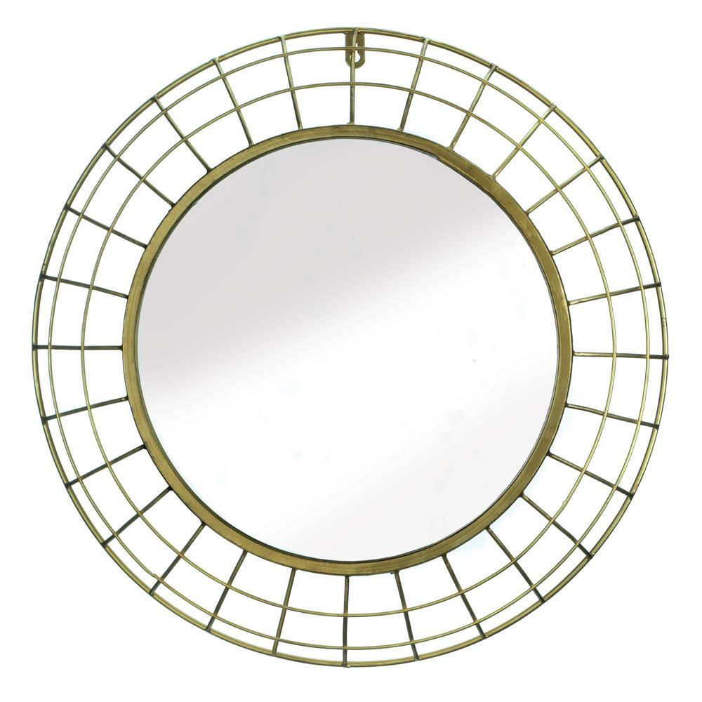 the-stock-mall - Golden Wire Dome Framed Wall Mirror - Home Decor