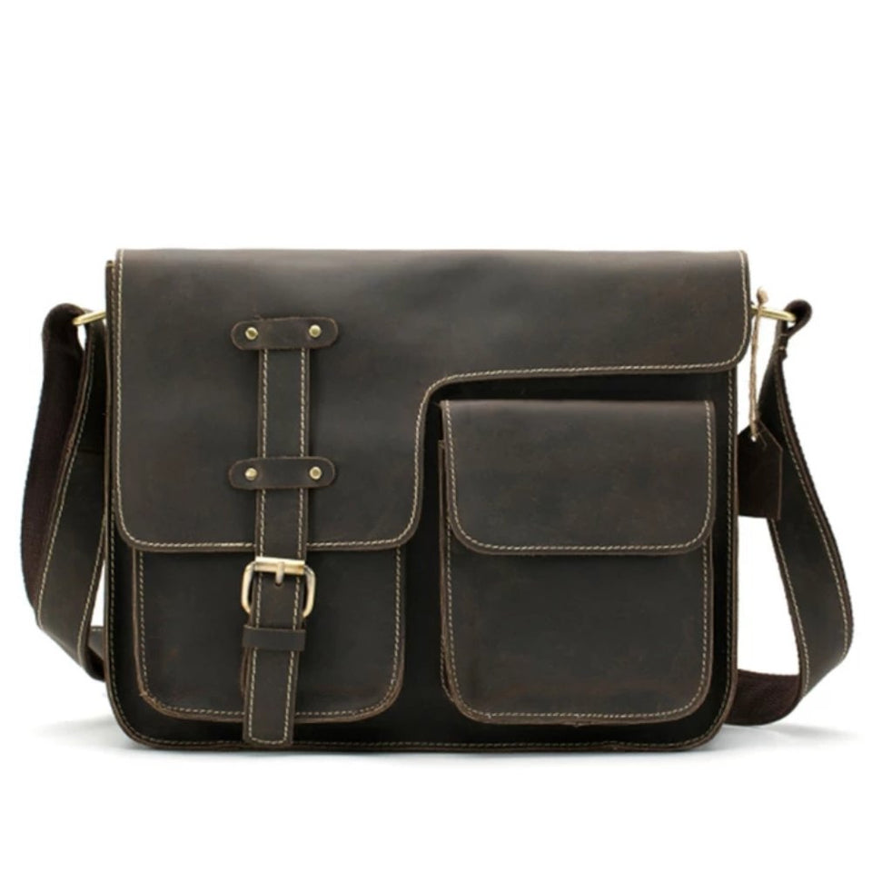 the-stock-mall - Men's Crossbody Leather Shoulder Bag - Jewelry & Watches / Fashion Jewelry / Body Jewelry