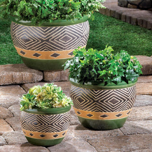 the-stock-mall - Set Of 3 Beautiful Green Flower Pots Planters - Home Decor