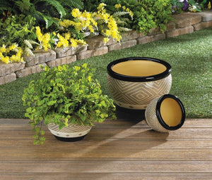 the-stock-mall - Set Of 3 Black Black Trim Flower Pots Planters - Home Decor