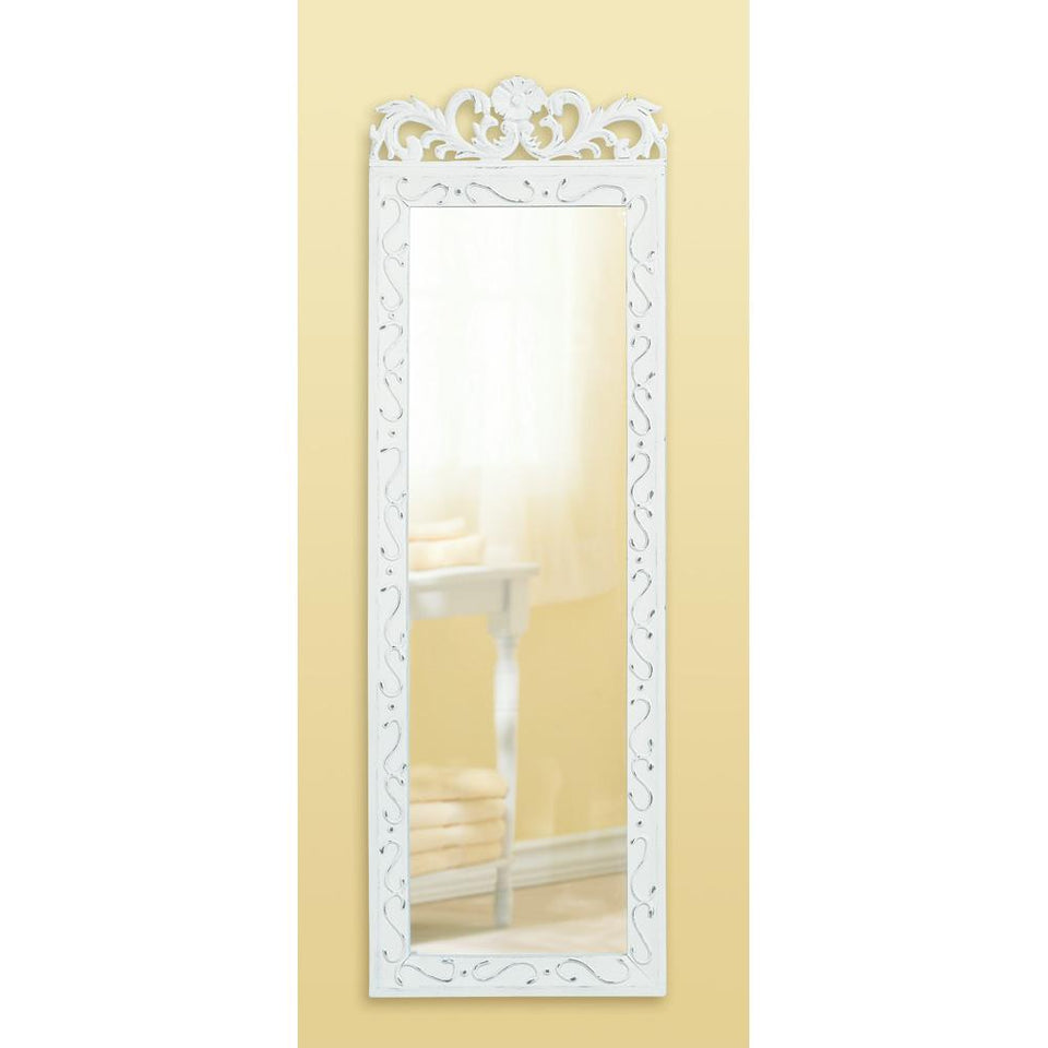 the-stock-mall - Weathered White Wood  Wall Mirror - Home Decor