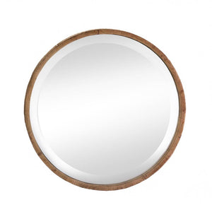 the-stock-mall - Wood Frame Round Wall Mirror - Home Decor