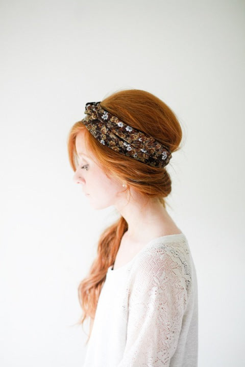 Rusty Red with Tiny Flowers Headwrap