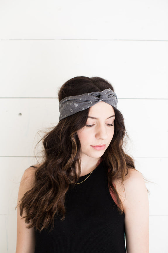 Black with White Polka Dots Headwrap
