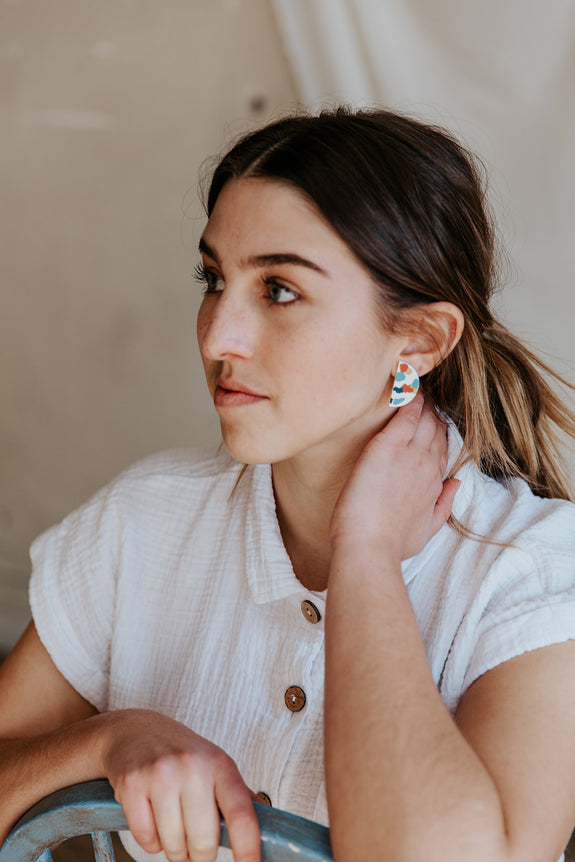 Half Moon & Pebble Studs - Choose Your Style!