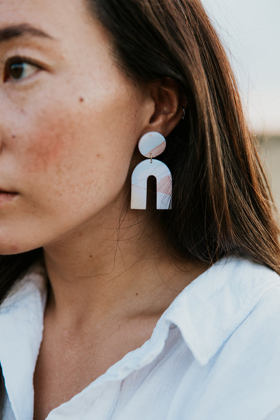 Squiggle Line Clay Arch Earrings