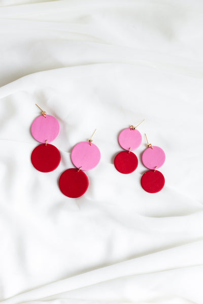 Lora in Pink & Red Earrings