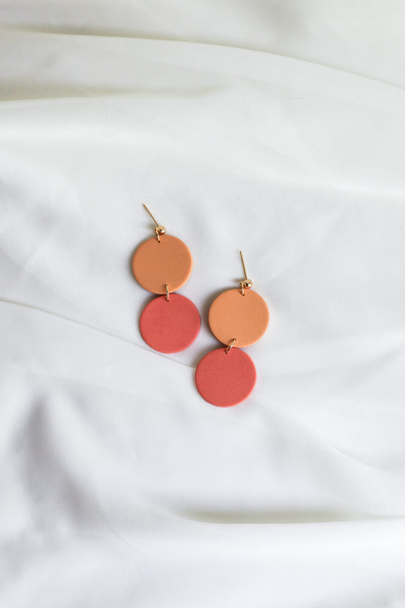 Lora in Peach & Coral Earrings