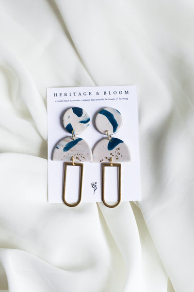 Navy Abstract Jo Earrings