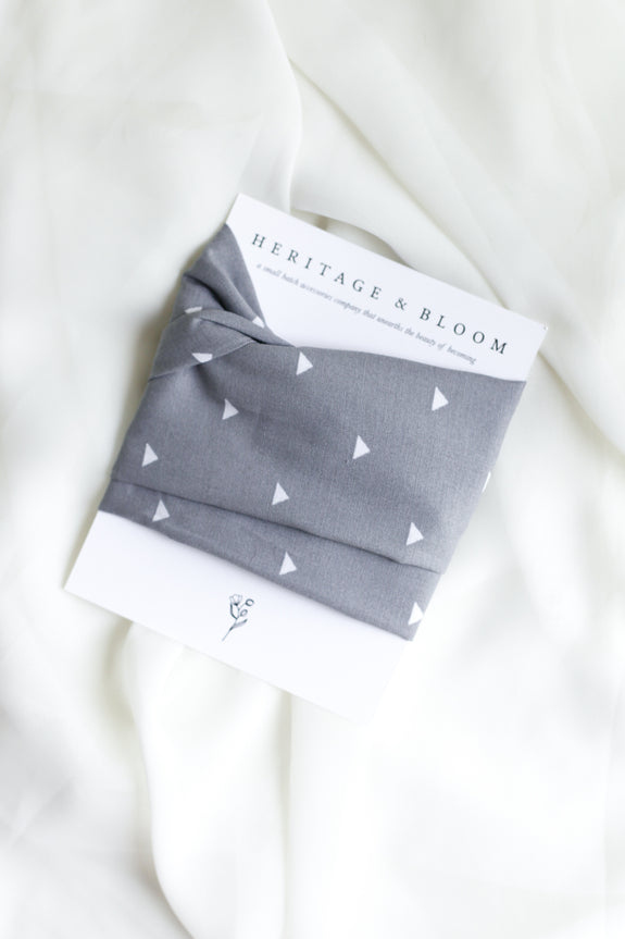 Grey with White Triangles Headwrap