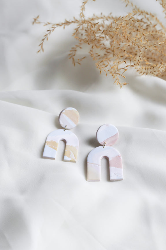 Marbled Clay Arch Earrings
