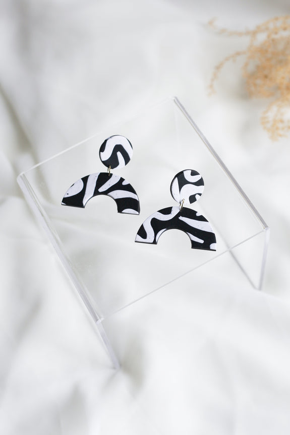 Cleo in Black and White Lines Earrings