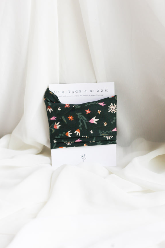 Forest Green with Tulips Headwrap
