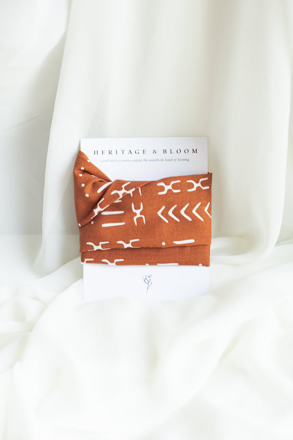Tan and White Abstract Print Headwrap