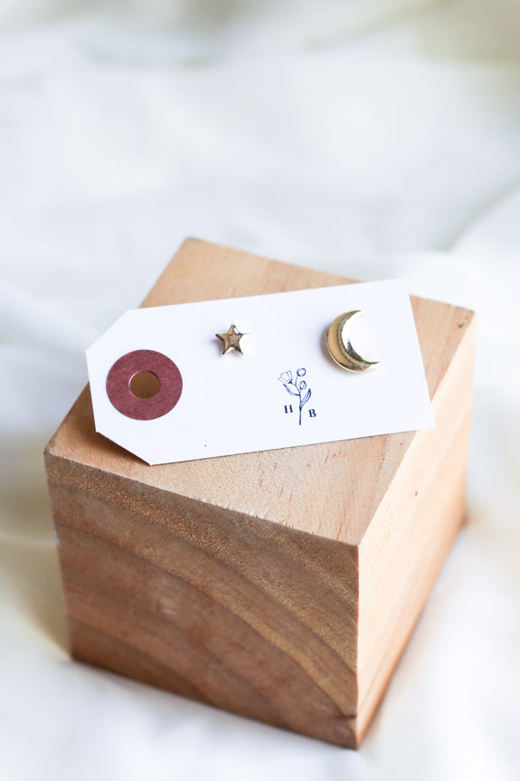 Gold Star and Moon Studs