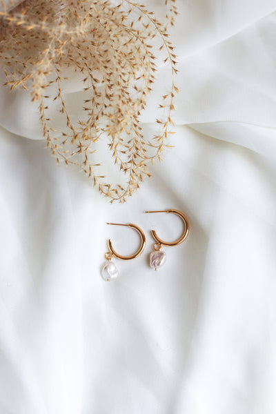 Sofia Freshwater Pearl Hoop Earrings