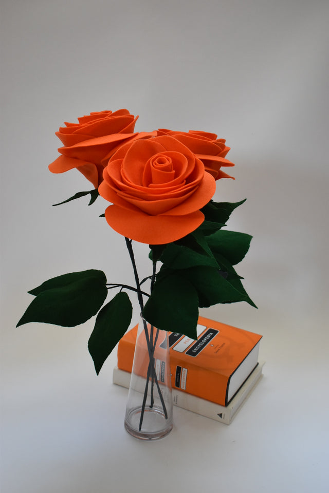 Orange Roses. Orange Floral Decoration. Floral bouquet. Home Decor. Tabletop Decor. Floral Art. Gift.