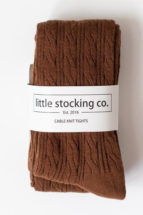 Chocolate Cable Knit Tights