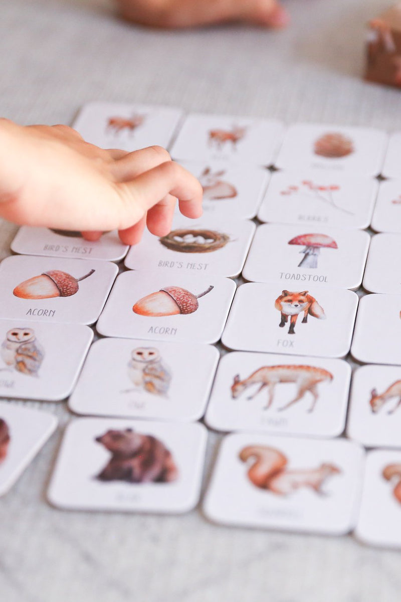 Children's wooden memory game from Modern Monty available at Thistle and Wren Victoria BC.