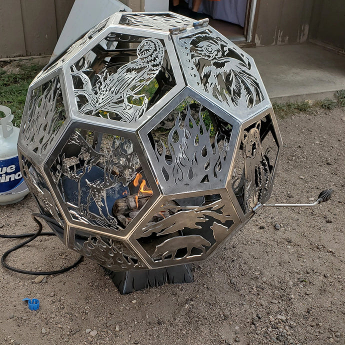Wild life geo dome with door fire pit