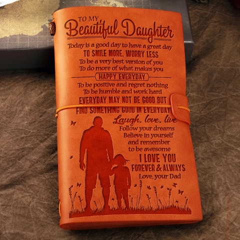 Dad To Beautiful Daughter - SMILE MORE, WORRY LESS  - Vintage Journal