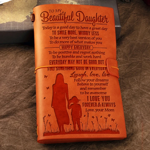Mom To Beautiful Daughter - SMILE MORE, WORRY LESS  - Vintage Journal