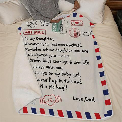 50% OFF Best Gift-Dad To Daughter - Straighten Your Crown - Colorful  woolen blanket