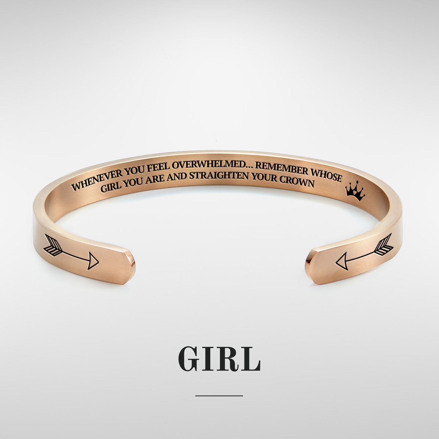 Remember whose girl you are and straighten your crown bracelet with rose gold plating