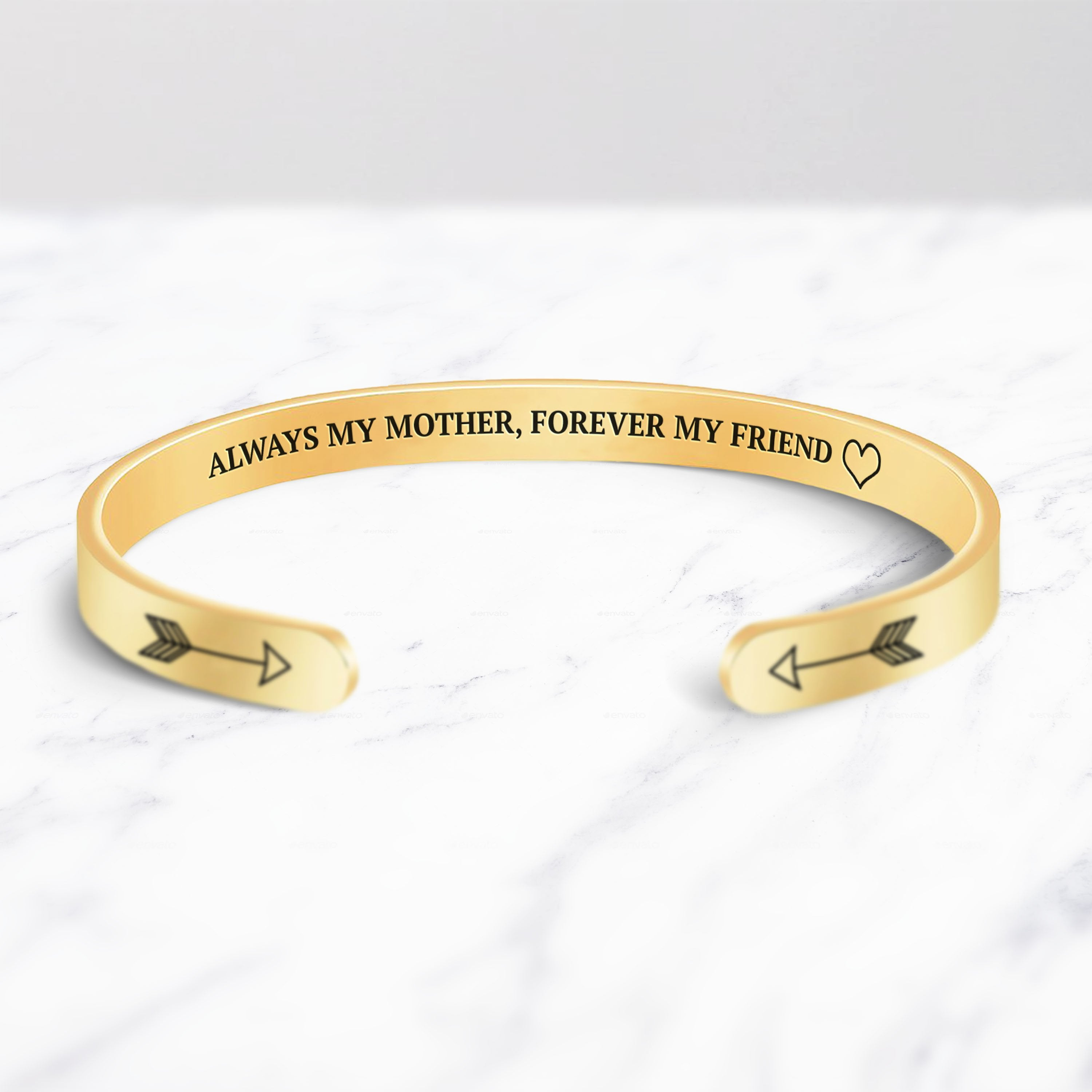 Always My Mother, Forever My Friend Cuff Bracelet bracelet with gold plating on a marble background