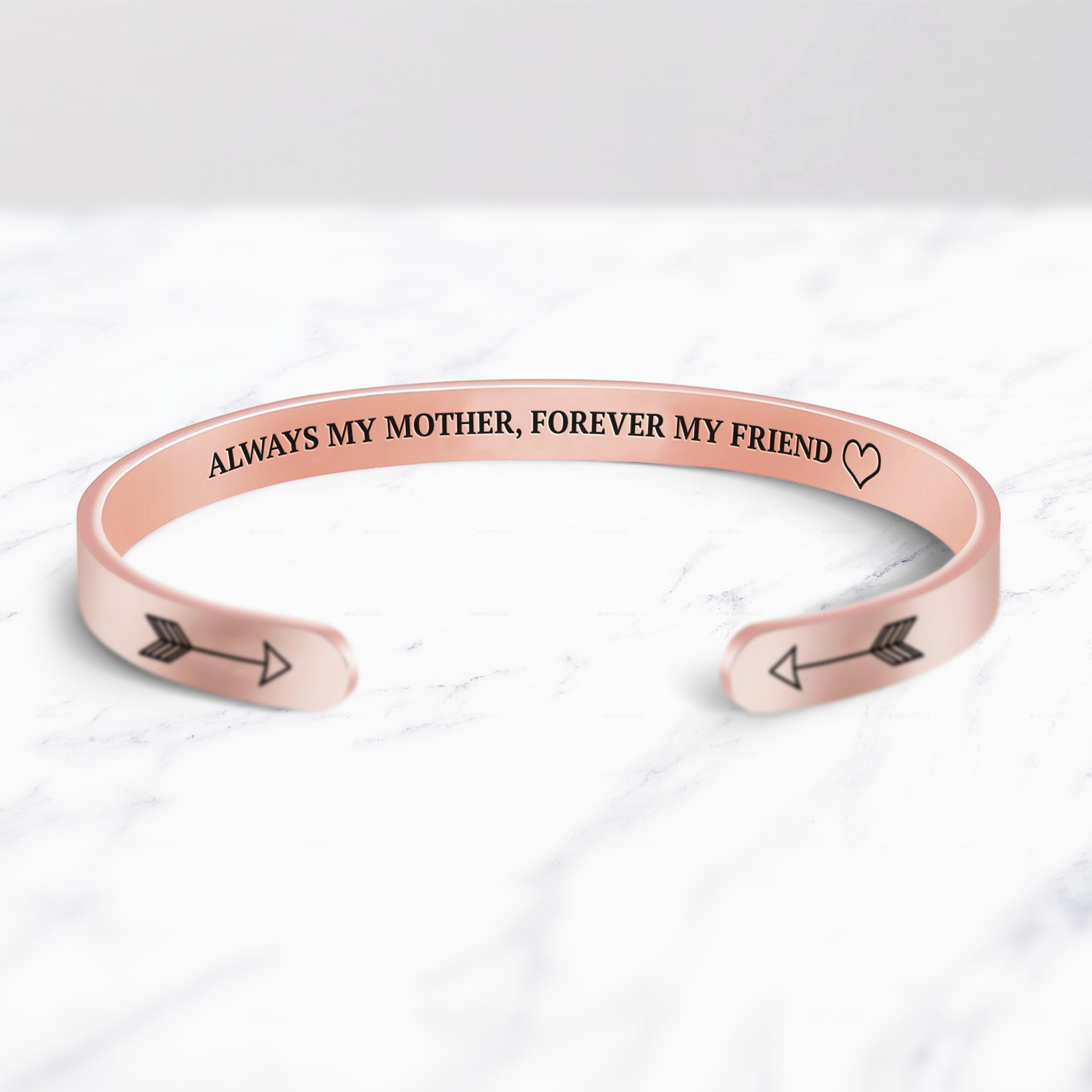 Always My Mother, Forever My Friend Cuff Bracelet bracelet with rose gold plating on a marble background