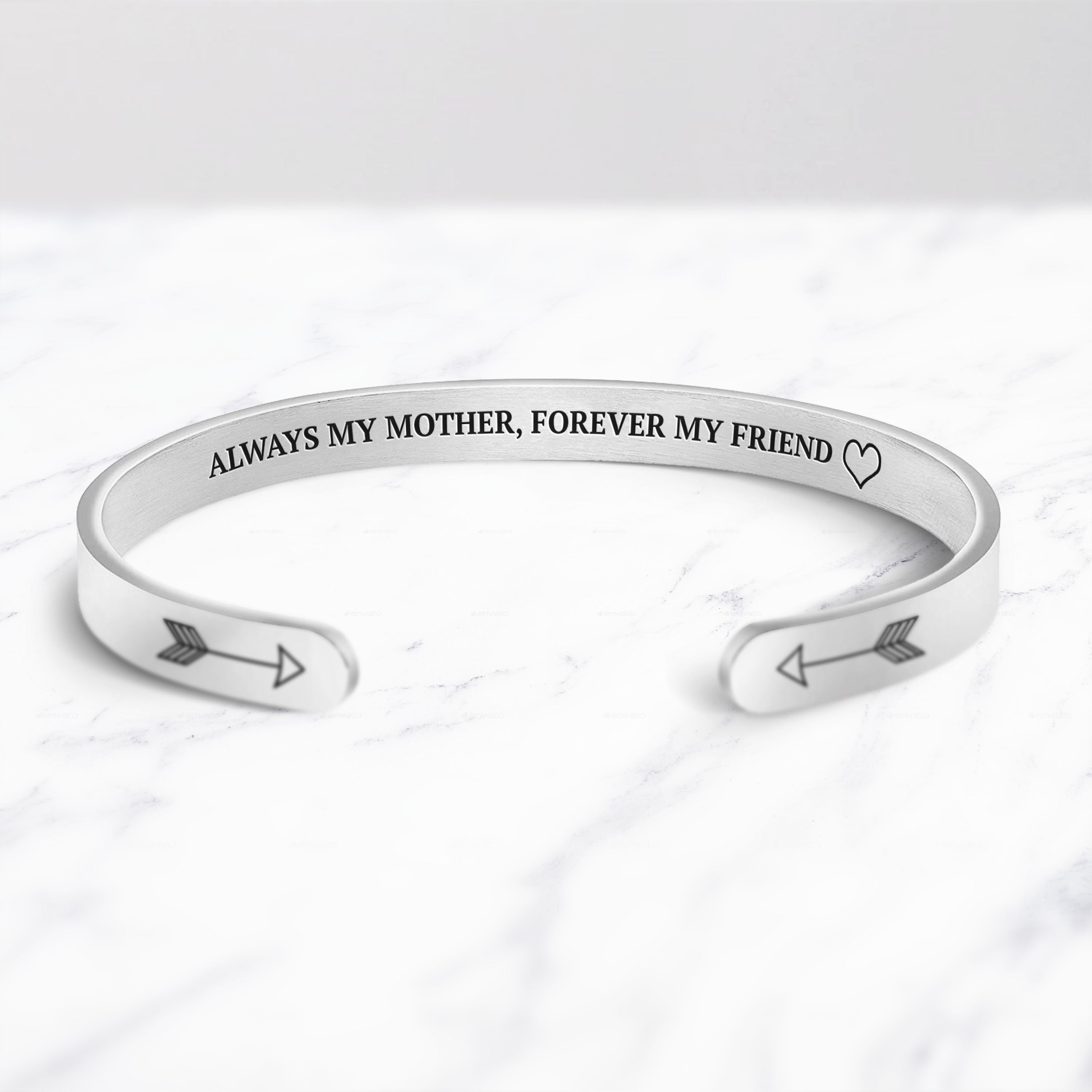 Always My Mother, Forever My Friend Cuff Bracelet bracelet with silver plating on a marble background
