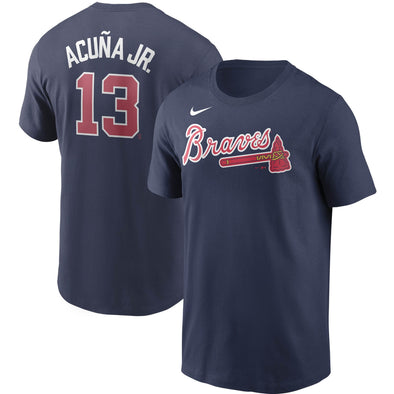 Ronald Acuña Jr. Nike Navy Name & Number Player Tee
